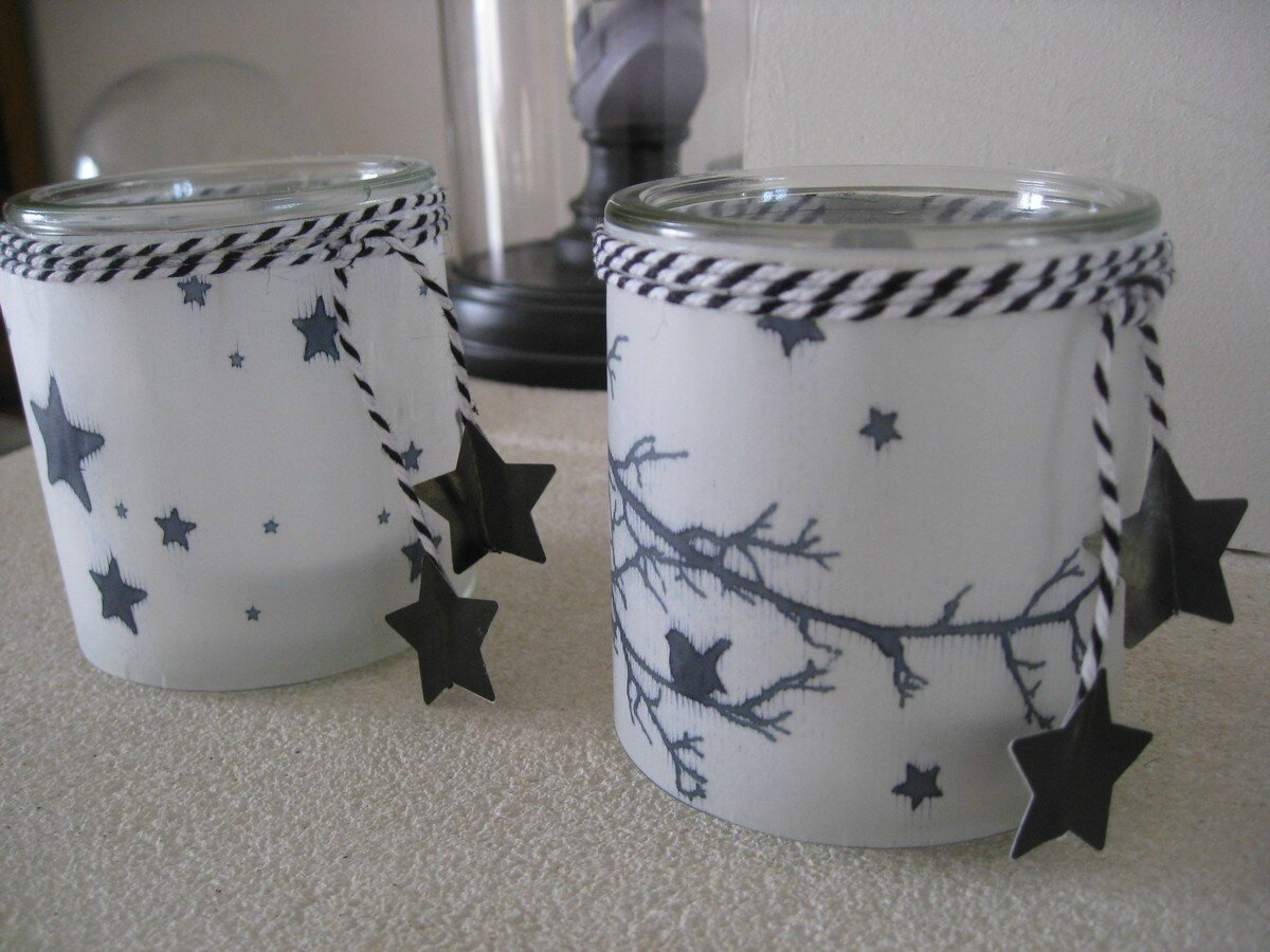 Diy photophores a l 39 heure des r ves for Decoration pot de yaourt en verre