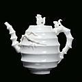 A rare Blanc de Chine porcelain teapot decorated with squirrel and bamboo, China, Dehua, Qing Dynasty, end 17th century