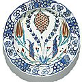 An iznik polychrome pottery dish with a scale-design medallion, turkey, circa 1575
