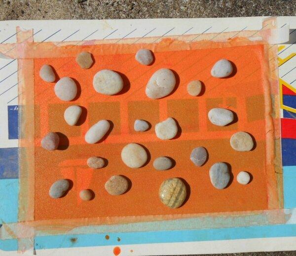 Sun printing - Impression solaire - avec Peinture Textil tissus foncés - Avant exposition