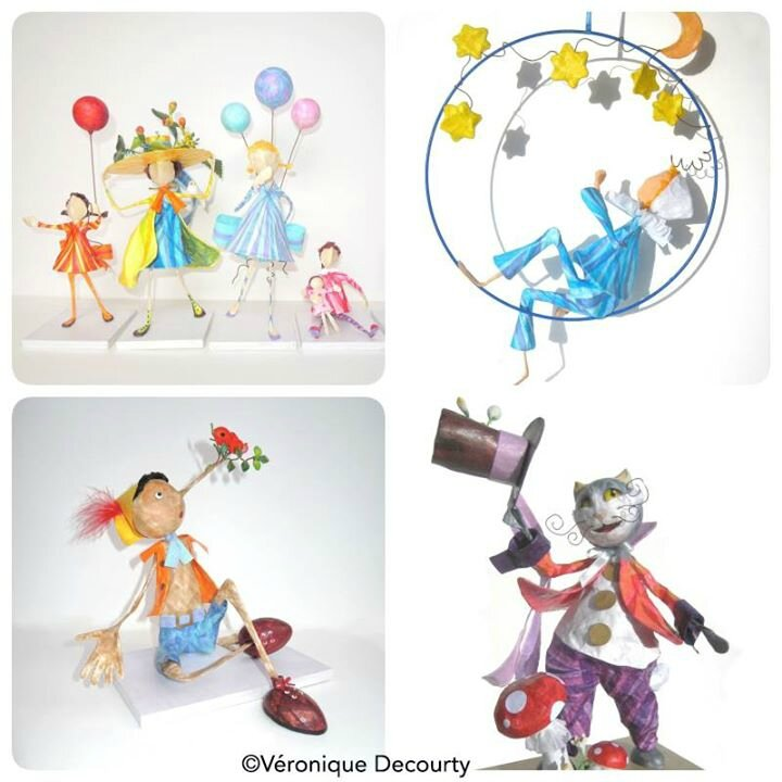 figurines_dame la lune_creation_originale_ figurine_papier_véronique decourty