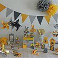 boite a dragees mariage bapteme baby shower theme jaune gris guirlande fanion pompon moulin