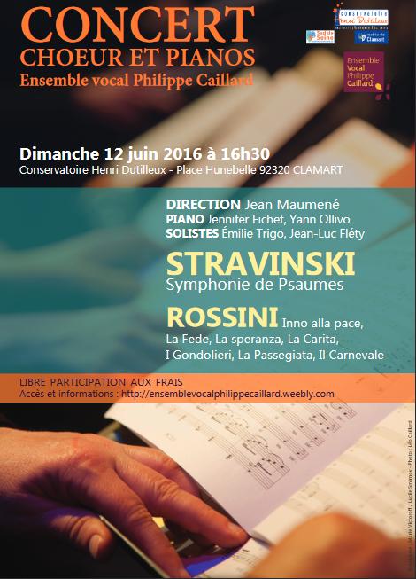 Symphonie de psaumes de Stravinsky - Choeurs de Rossini - par l'EVPC - dimanche 12 juin 2016 - 16h30 - Clamart