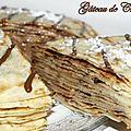 Gâteau de crêpes à la confiture de lait, chocolat et noix de pécan