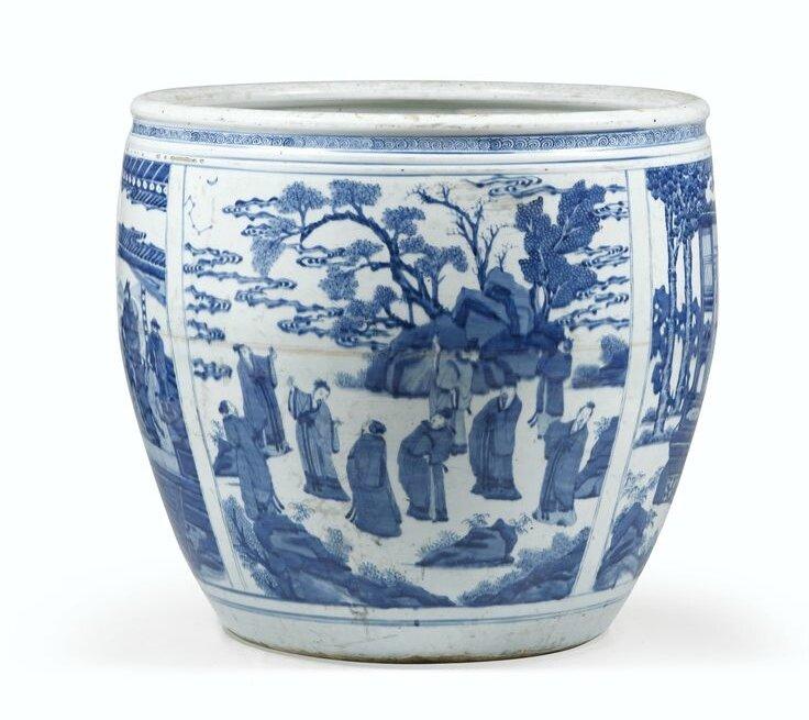 grande vasque en porcelaine bleu blanc dynastie qing. Black Bedroom Furniture Sets. Home Design Ideas