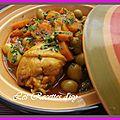 Tajine de poulet aux carottes et aux olives