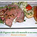 Selle d'agneau rôtie à la moutarde, à l'ail et au romarin