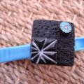 Bague noire turquoise