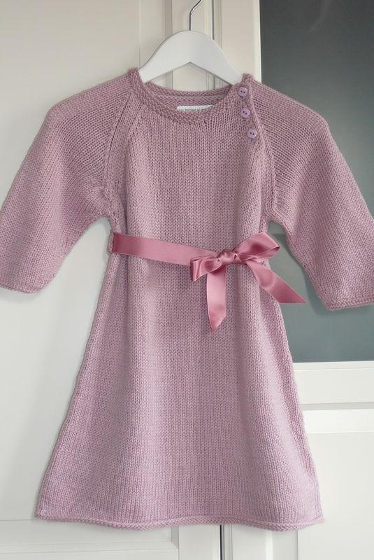 Robe en cashmere et laine ruban rose pour Emma (taille 18 mois)