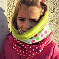 snood fillette rose/vert