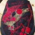 pochon rouge noir yoyos laine feutrée organza