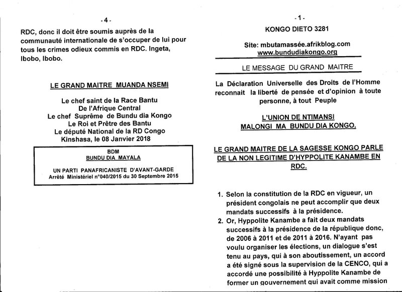 LA NON LEGITIME D'HYPPOLITE KANAMBE EN RDC a