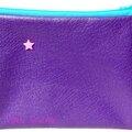 trousse en simili cuir souple violet et zip turquoise