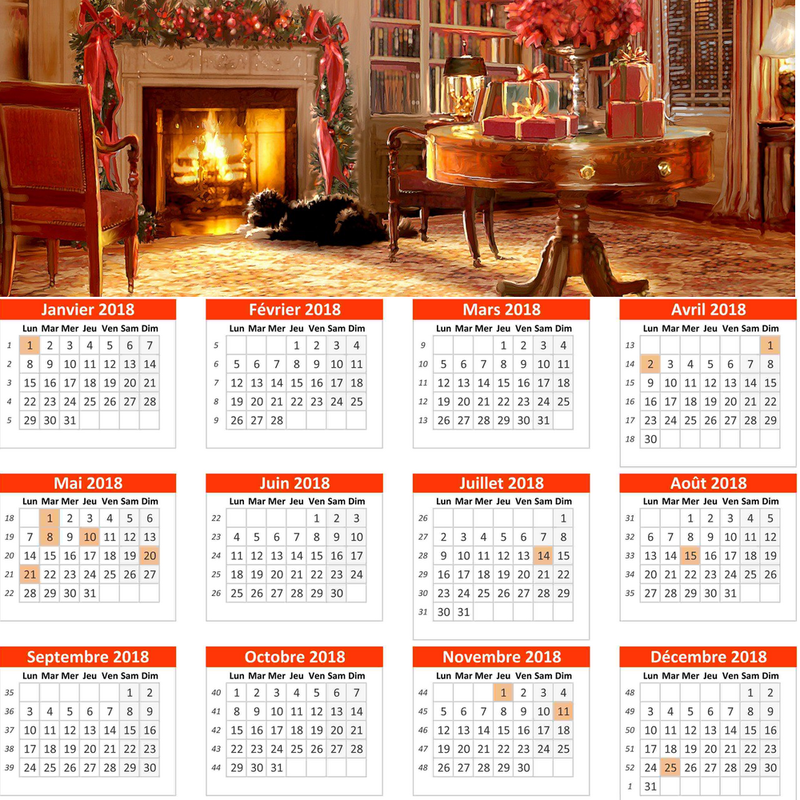 calendrier 2018 veillée de noël