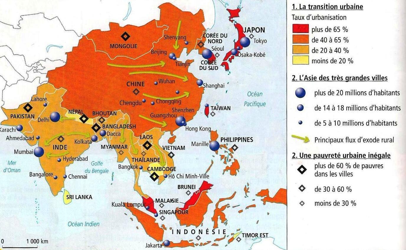 Carte Asie Avec Villes.L Asie Du Sud Et De L Est Les Defis De La Population Et De