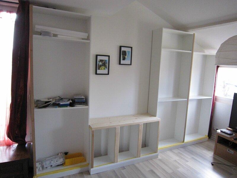 une biblioth que diy do it yourself sur mesure en billy ikea content pour rien. Black Bedroom Furniture Sets. Home Design Ideas