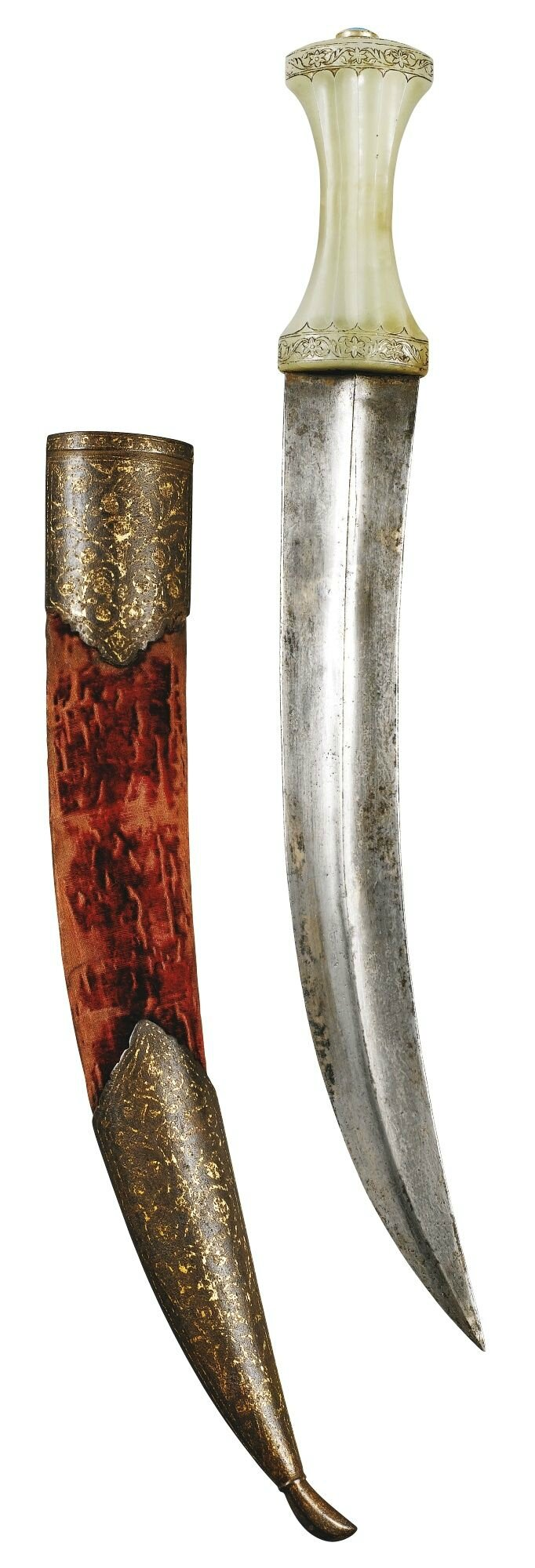A Mughal jade-hilted dagger and scabbard, North India, late 18th century