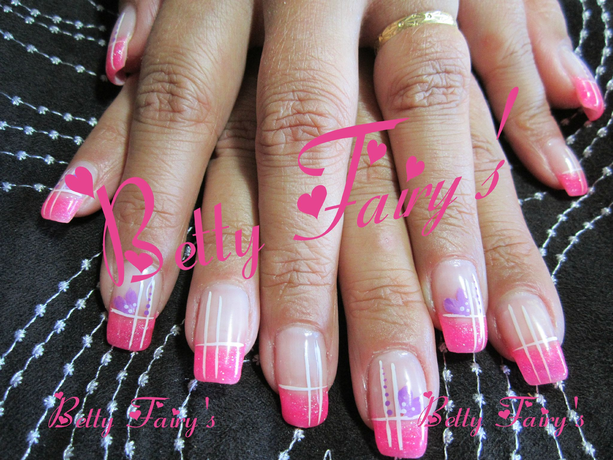 Ongles french rose fluo - Gel rose fluo ...