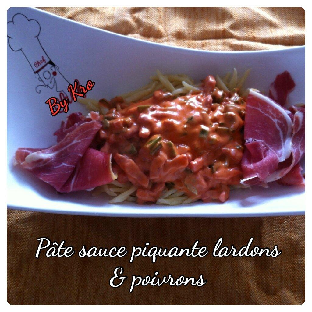 Pâtes sauce piquante lardons et poivrons
