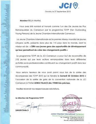Distinction programme TOYP JCI CAMEROUN