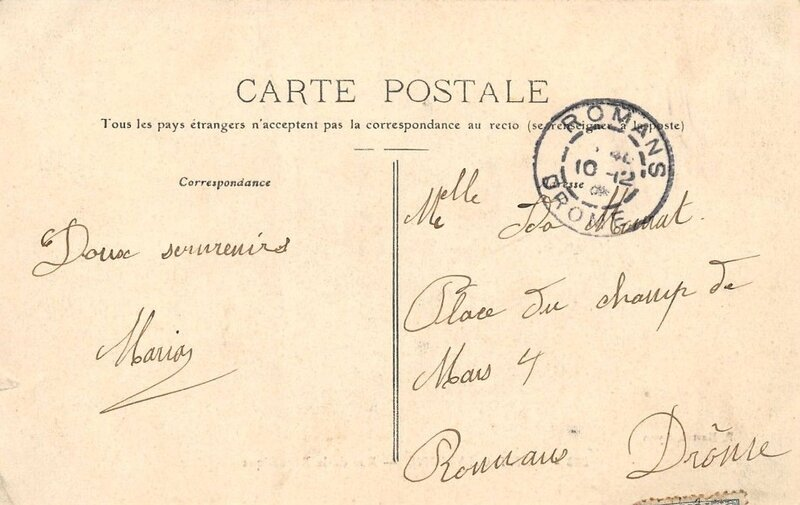 verso carte Rose octobre 1912