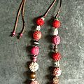 Collier de laine rouge et rose