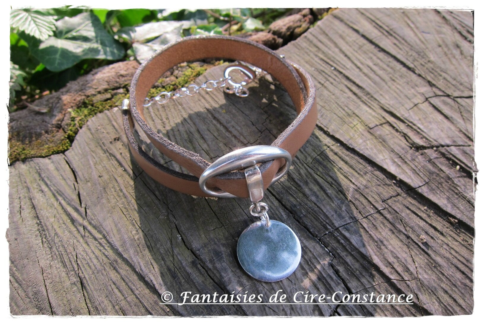 bracelet cuir double tour grain de café 10 mm