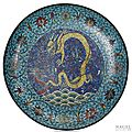 A very large and rare cloisonné enamel imperial dragon charger, china, ming dynasty