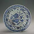 Blue-and-white plate with foliated edge and the design of fruits and flowers, Yongle period (1403-1424)