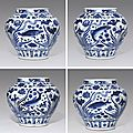 A magnificent and rare Yuan blue and white 'Fish' jar, Yuan dynasty (AD 1279-1368)