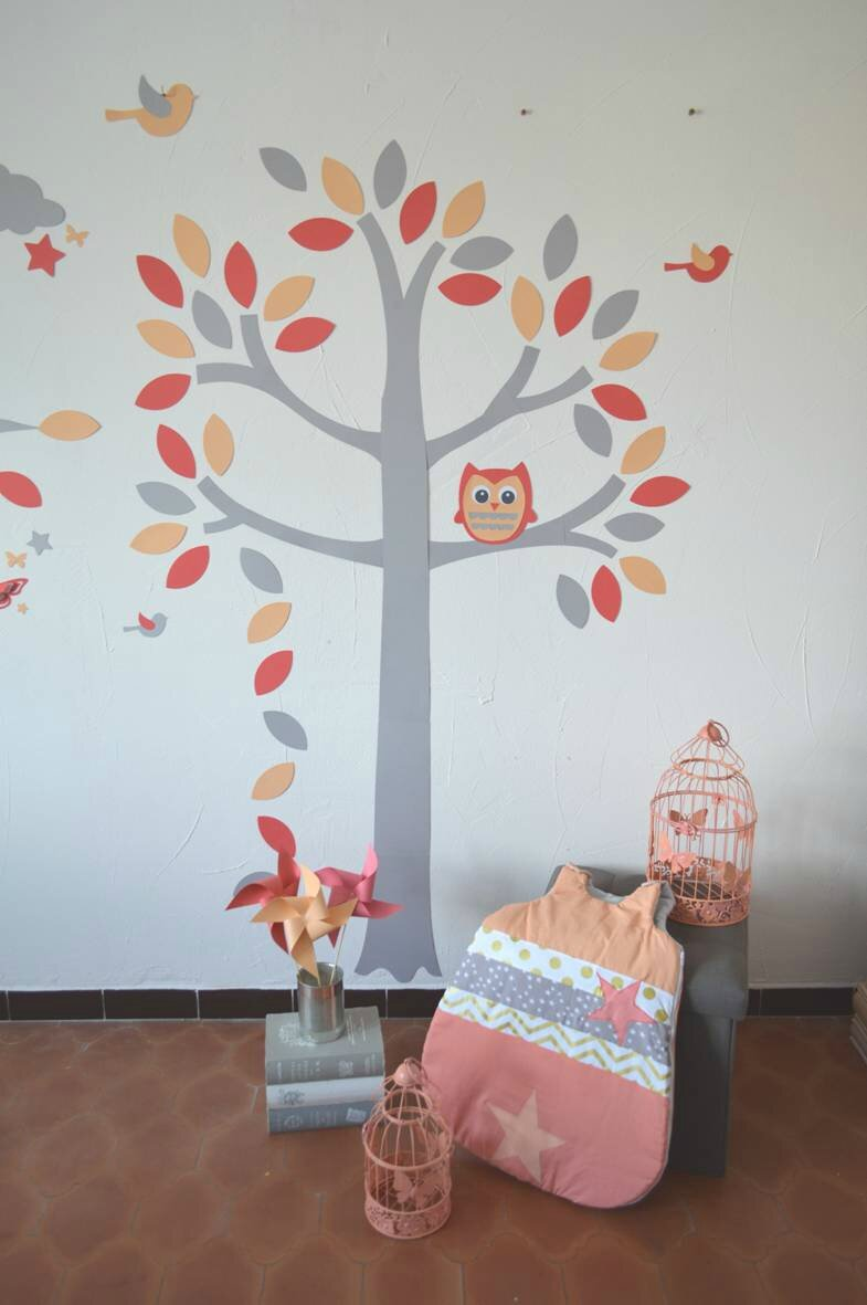 stickers arbre hibou chouette oiseaux corail gris abricot saumon d coration chambre enfant. Black Bedroom Furniture Sets. Home Design Ideas