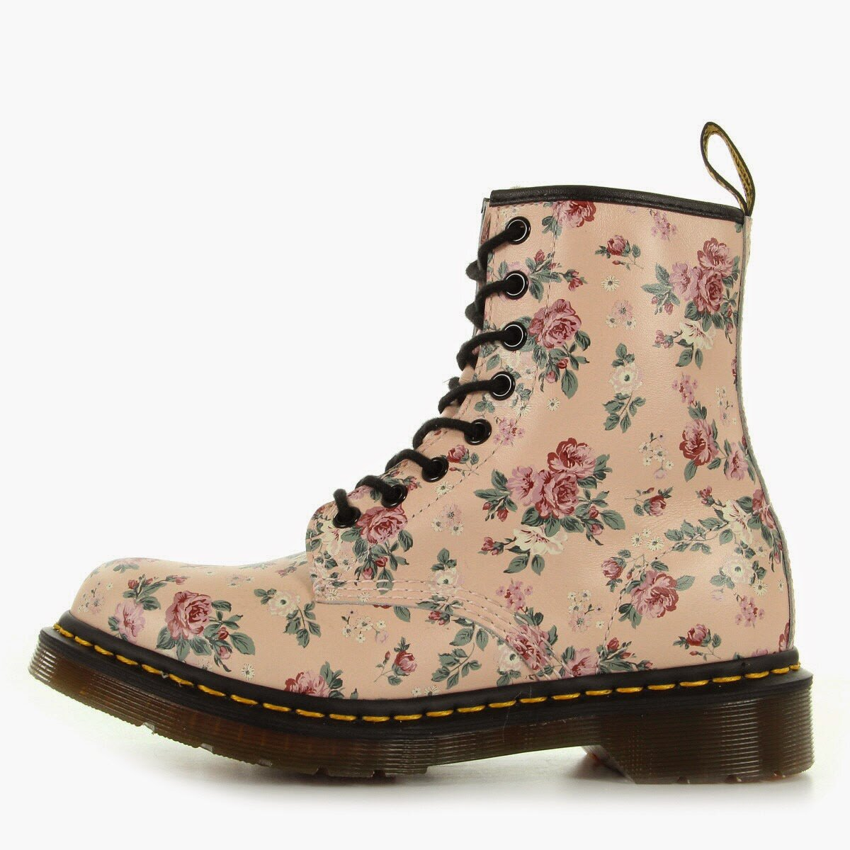 vendu doc martens mod le 1460w tr s originale rose poudr fleurs liberty eu 39 uk 6 avec. Black Bedroom Furniture Sets. Home Design Ideas