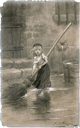 Cosette_sweeping_les_miserables_emile_bayard_1862