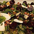Salade de betteraves poelees, feves, chevre & menthe