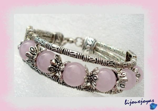 Bracelet Ethnique Horizon Perles Jade Rose 10 mm Argent du Tibet