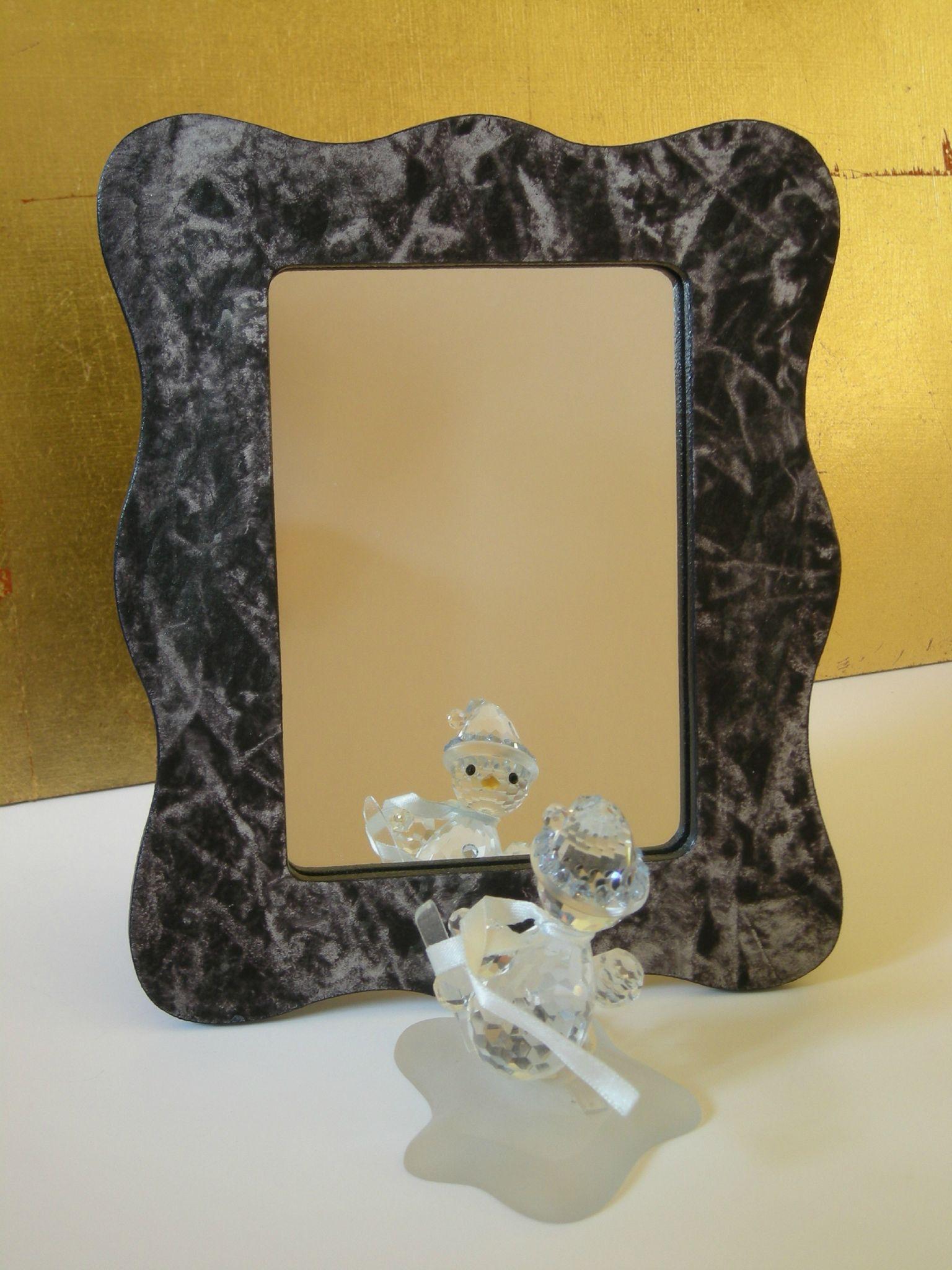 Miroir vague noir et argent objets deco for Miroir vague