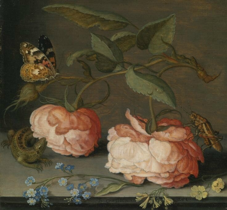 Balthasar van der Ast, Roses with a butterfly and a grasshopper, together with forget-me-nots, primroses and a sand lizard on a