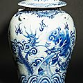 Large covered vase with dragon and landscape, china for vietnam, approx. late 19th century
