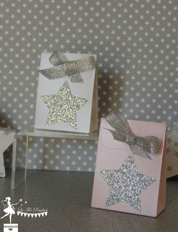 ballotin dragées baptême rose blanc nacré thème étoile star argent sujet enfant2