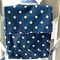 Cartable maternelle coton enduit bleu étoiles blanches