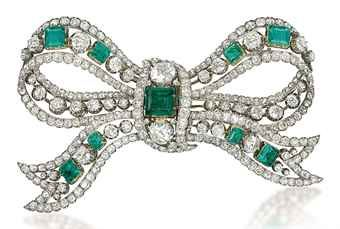 an_antique_emerald_and_diamond_bow_brooch_d5388509h