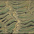 A two-fold textile screen with multicoloured cresting waves by minagawa gekka (1892-1987), japan, 20th century, shōwa period
