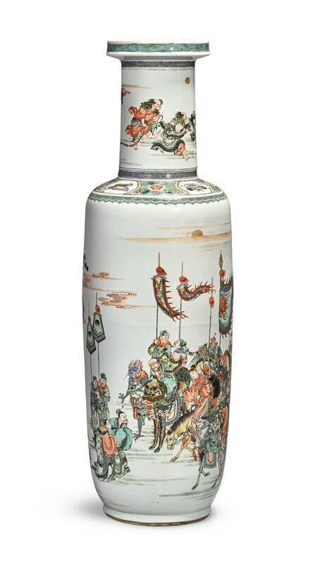 A large and important famille-verte 'Investiture of the gods' rouleau vase, Qing dynasty, Kangxi period (1662-1722)