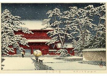 Kawase Hasui Temple de Zojoji sous la neige 1929