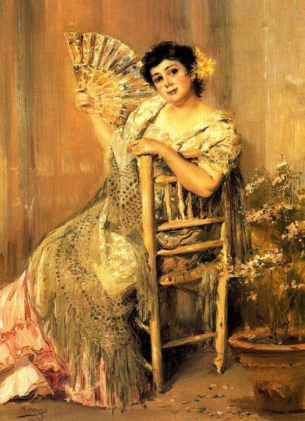 Jose Villegas Cordero - Mujer abanicandose
