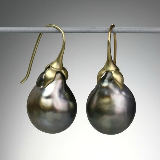 "Gabriella Kiss. A pair of 18k gold ""Eggplant"" earrings with dark Tahitian pearls"