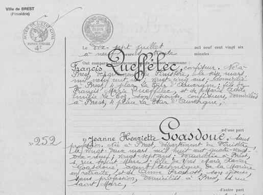 Mariage Francis et Jeanne Goasdoue le 17 juillet 1926