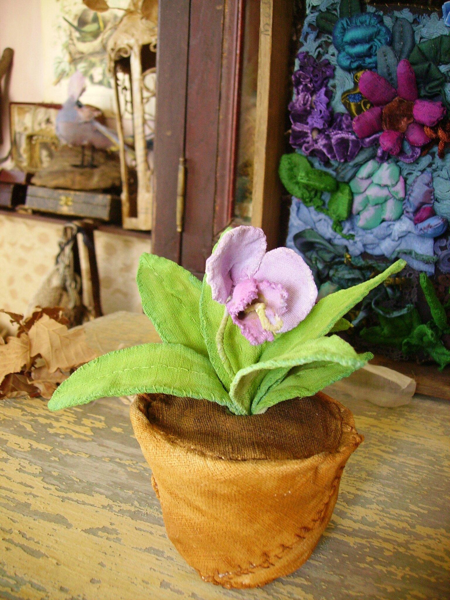 fleur en pot textile