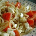 Salade tide de spaghetti  la tomate et au pesto maison, sans bl, sans lait de vache