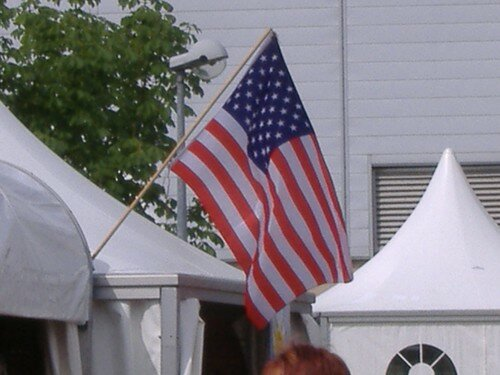 An american flag in France..so rare!